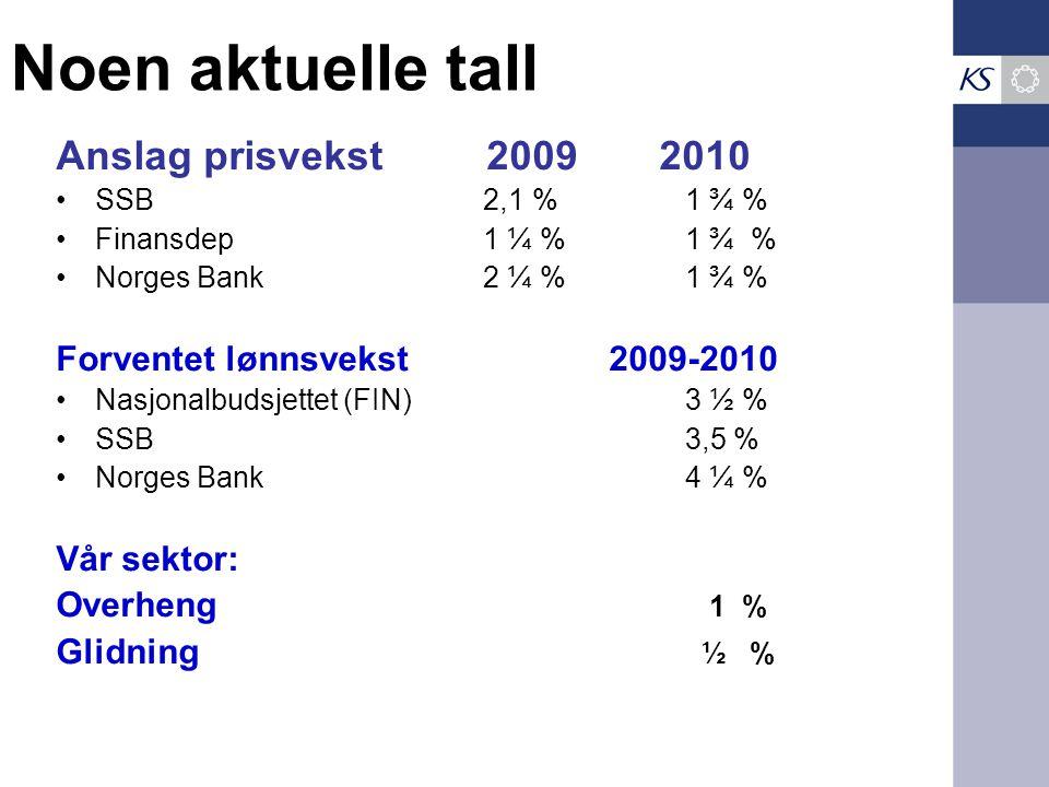 Noen aktuelle tall Anslag prisvekst 2009 2010 SSB 2,1 %1 ¾ % Finansdep 1 ¼ %1 ¾ % Norges Bank 2 ¼ %1 ¾ % Forventet lønnsvekst 2009-2010 Nasjonalbudsjettet (FIN)3 ½ % SSB3,5 % Norges Bank4 ¼ % Vår sektor: Overheng 1 % Glidning ½ %