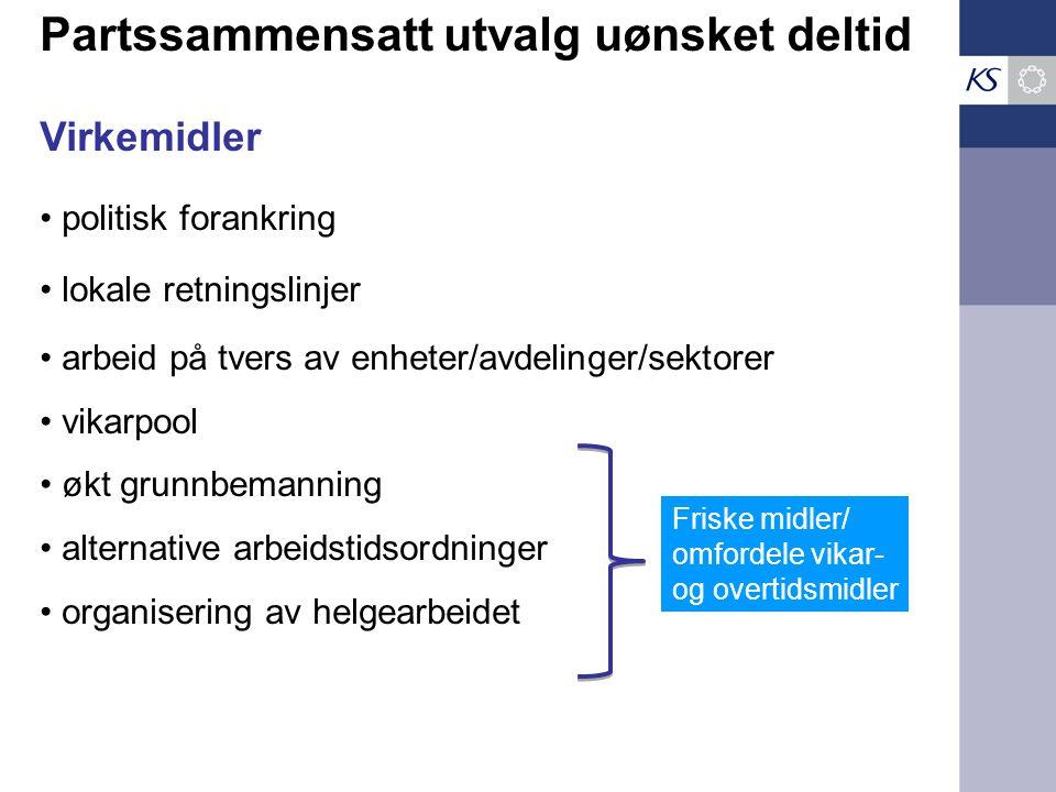 Partssammensatt utvalg uønsket deltid Virkemidler politisk forankring lokale retningslinjer arbeid på tvers av enheter/avdelinger/sektorer vikarpool ø