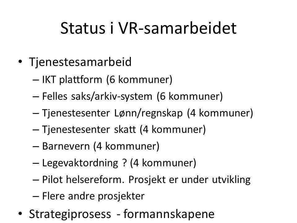 Status i VR-samarbeidet Tjenestesamarbeid – IKT plattform (6 kommuner) – Felles saks/arkiv-system (6 kommuner) – Tjenestesenter Lønn/regnskap (4 kommuner) – Tjenestesenter skatt (4 kommuner) – Barnevern (4 kommuner) – Legevaktordning .
