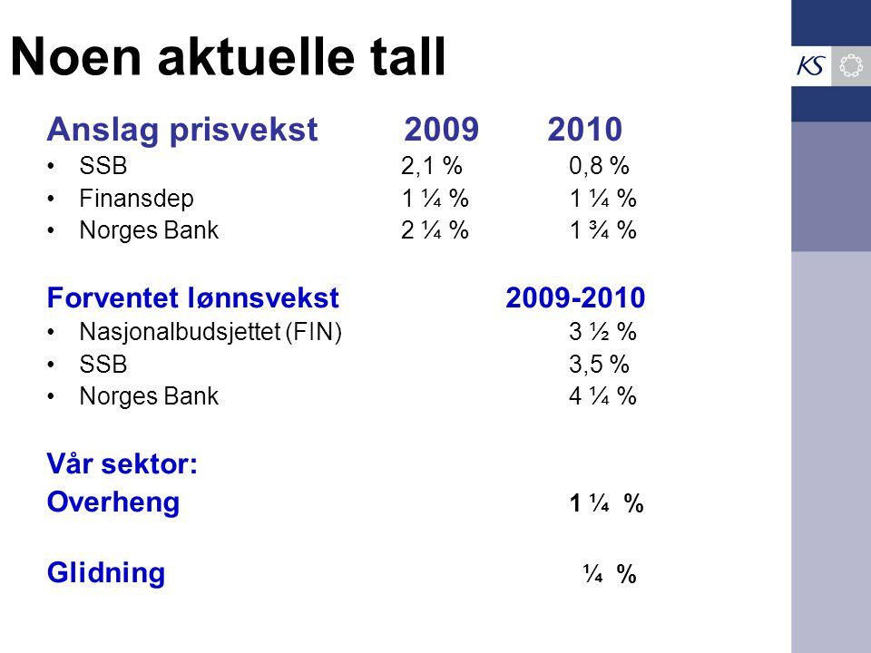 Noen aktuelle tall Anslag prisvekst 2009 2010 SSB 2,1 %0,8 % Finansdep 1 ¼ %1 ¼ % Norges Bank 2 ¼ %1 ¾ % Forventet lønnsvekst 2009-2010 Nasjonalbudsjettet (FIN)3 ½ % SSB3,5 % Norges Bank4 ¼ % Vår sektor: Overheng 1 ¼ % Glidning ¼ %