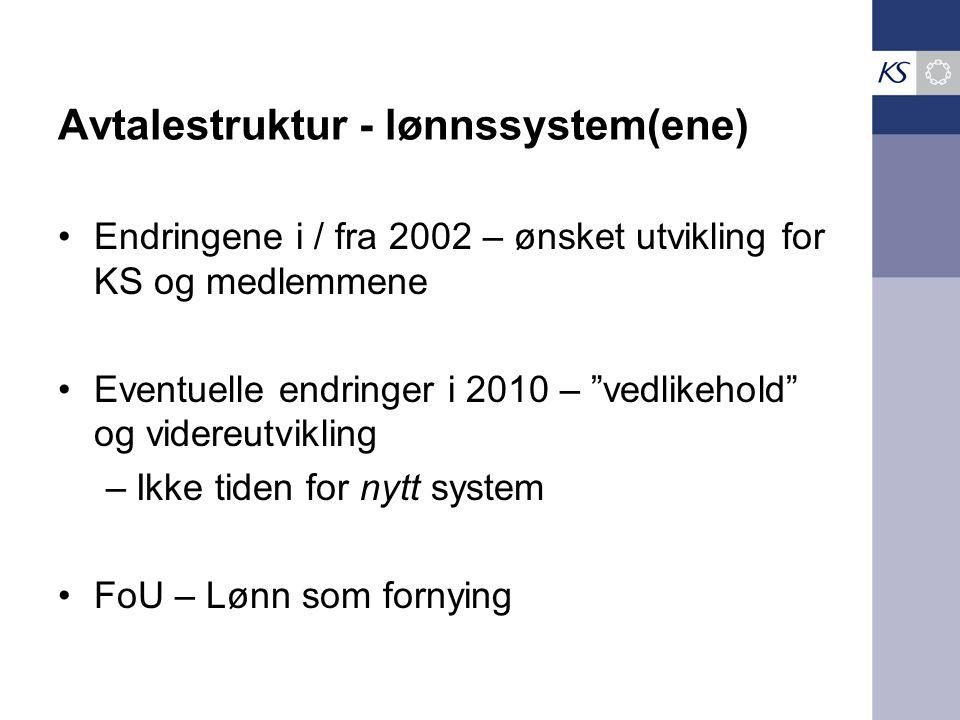 Avtalestruktur - lønnssystem(ene)) Endringene i / fra 2002 – ønsket utvikling for KS og medlemmene Eventuelle endringer i 2010 – vedlikehold og videreutvikling –Ikke tiden for nytt system FoU – Lønn som fornying