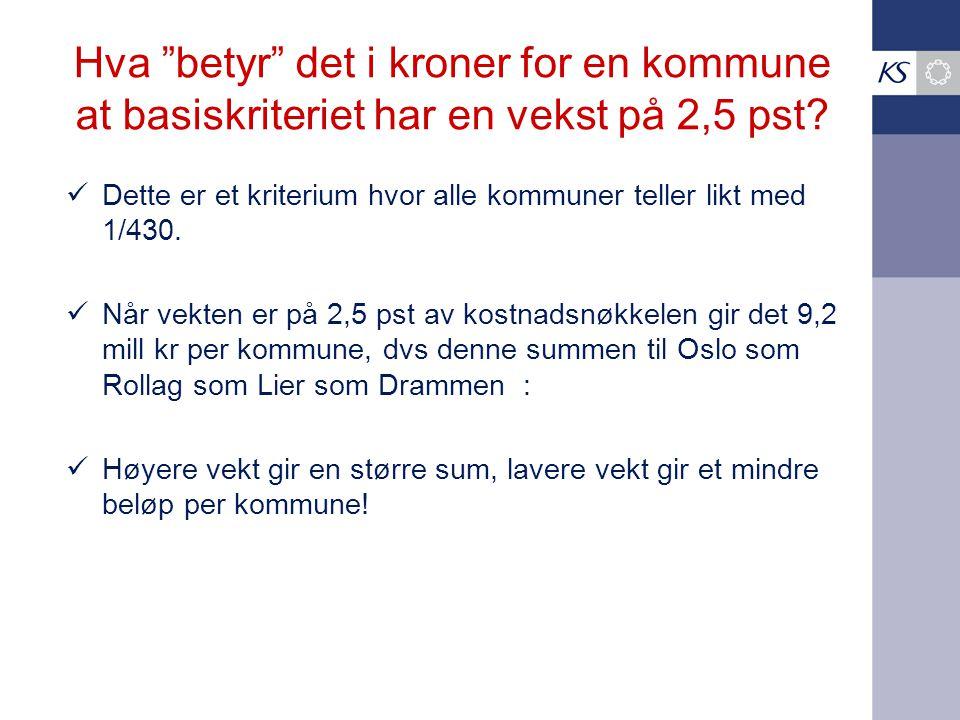 Hva betyr det i kroner for en kommune at basiskriteriet har en vekst på 2,5 pst.
