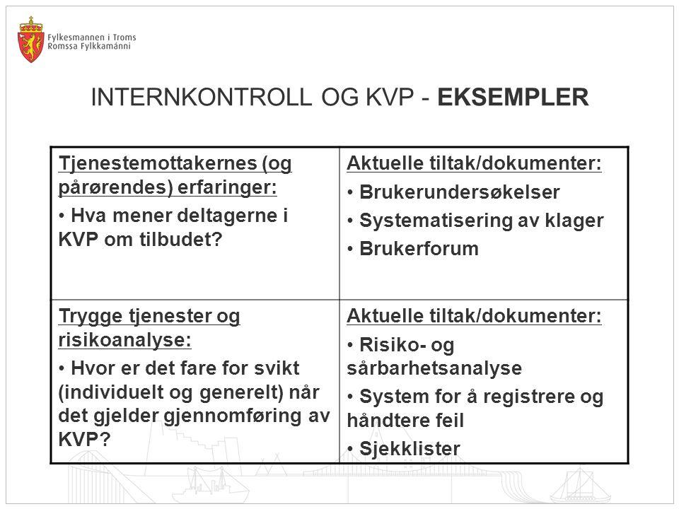 INTERNKONTROLL OG KVP - EKSEMPLER Tjenestemottakernes (og pårørendes) erfaringer: Hva mener deltagerne i KVP om tilbudet? Aktuelle tiltak/dokumenter: