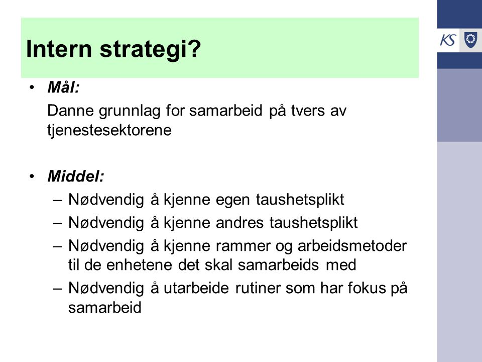 Intern strategi.