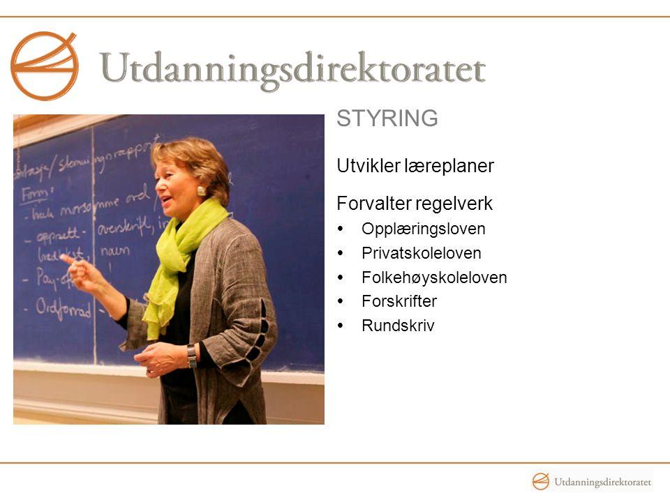 STYRING Utvikler læreplaner Forvalter regelverk  Opplæringsloven  Privatskoleloven  Folkehøyskoleloven  Forskrifter  Rundskriv