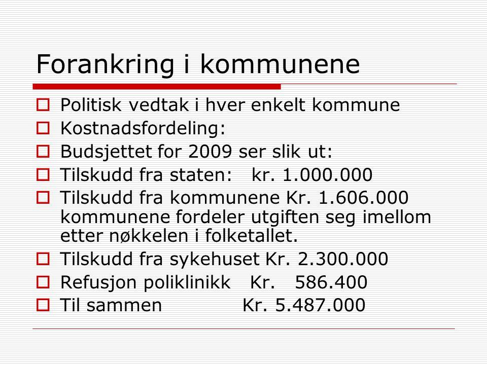 Forankring i kommunene  Politisk vedtak i hver enkelt kommune  Kostnadsfordeling:  Budsjettet for 2009 ser slik ut:  Tilskudd fra staten: kr. 1.00