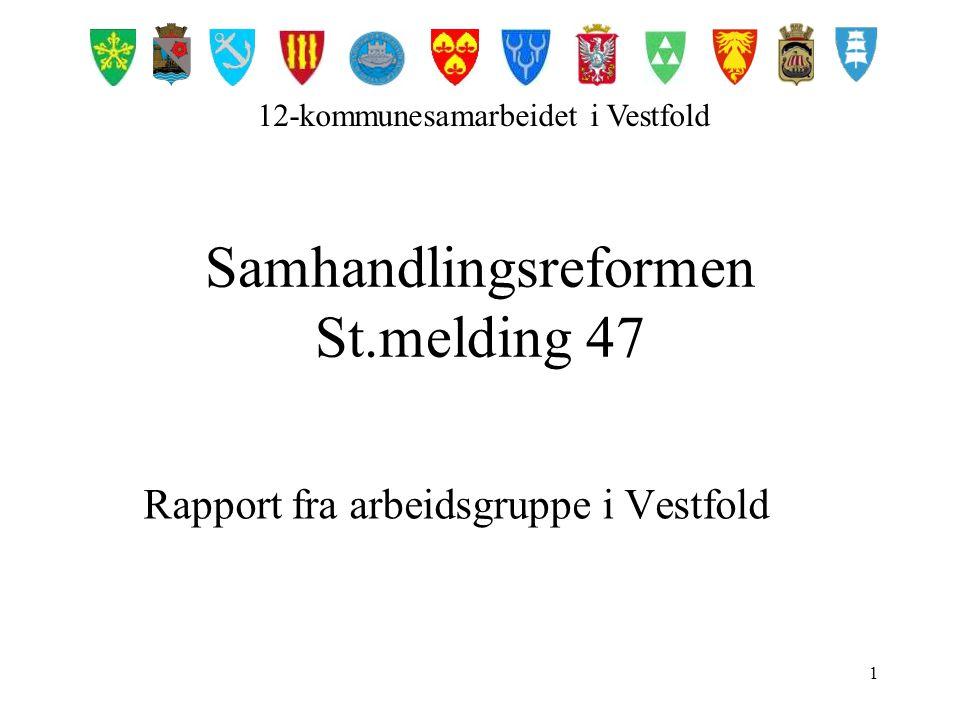 1 Samhandlingsreformen St.melding 47 Rapport fra arbeidsgruppe i Vestfold 12-kommunesamarbeidet i Vestfold