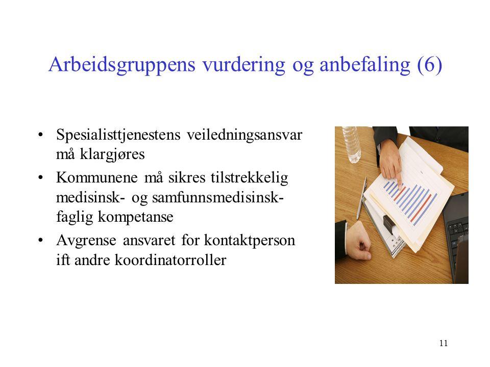11 Arbeidsgruppens vurdering og anbefaling (6) Spesialisttjenestens veiledningsansvar må klargjøres Kommunene må sikres tilstrekkelig medisinsk- og sa