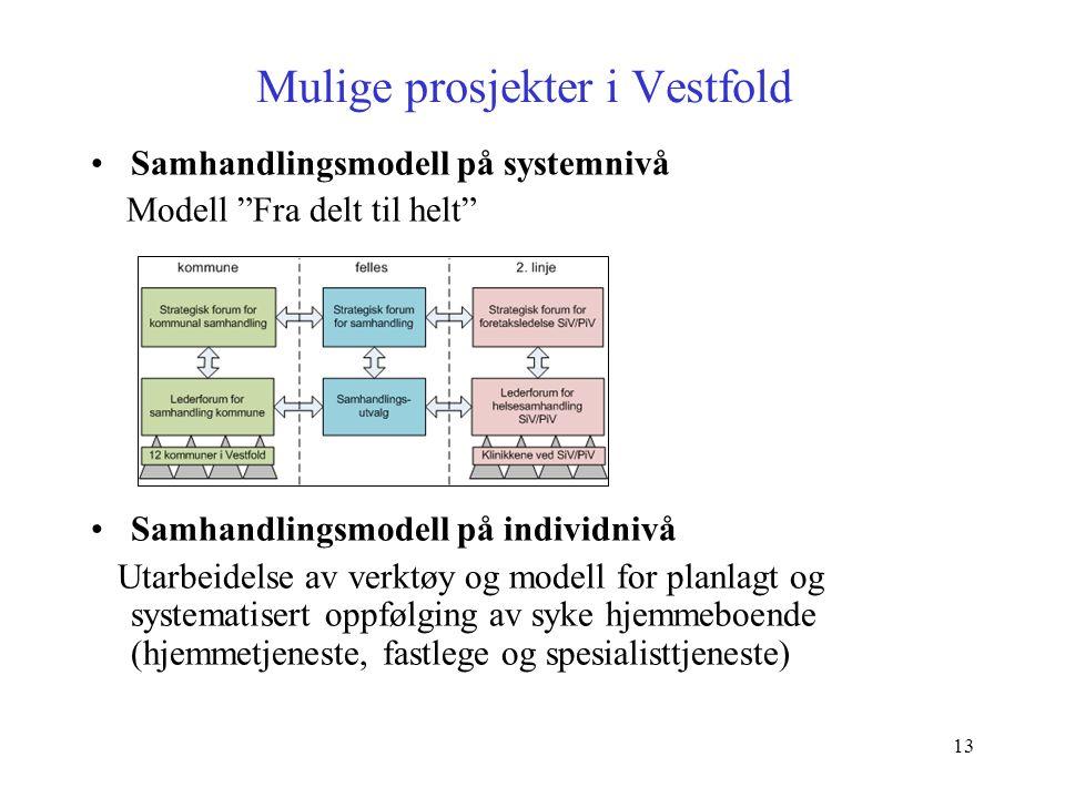 """13 Mulige prosjekter i Vestfold Samhandlingsmodell på systemnivå Modell """"Fra delt til helt"""" Samhandlingsmodell på individnivå Utarbeidelse av verktøy"""