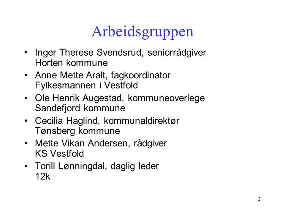 2 Arbeidsgruppen Inger Therese Svendsrud, seniorrådgiver Horten kommune Anne Mette Aralt, fagkoordinator Fylkesmannen i Vestfold Ole Henrik Augestad,
