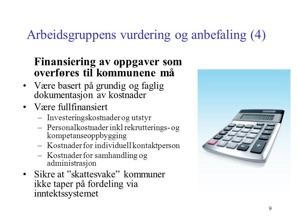 9 Arbeidsgruppens vurdering og anbefaling (4) Finansiering av oppgaver som overføres til kommunene må Være basert på grundig og faglig dokumentasjon a