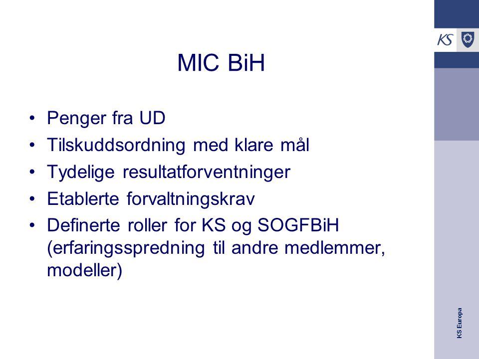 KS Europa MIC BiH Penger fra UD Tilskuddsordning med klare mål Tydelige resultatforventninger Etablerte forvaltningskrav Definerte roller for KS og SOGFBiH (erfaringsspredning til andre medlemmer, modeller)