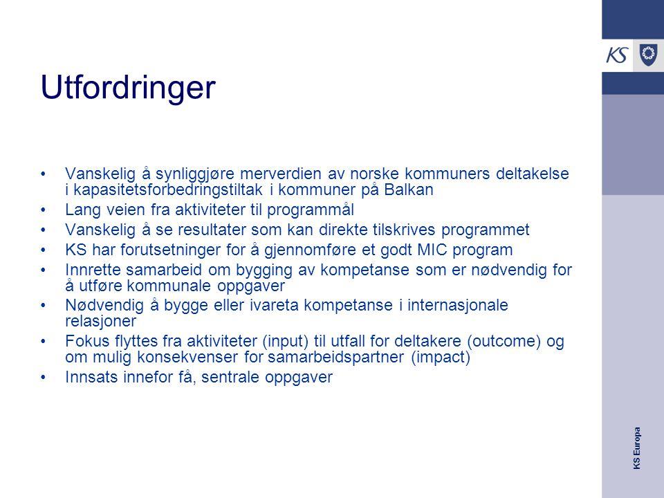 KS Europa Utfordringer Vanskelig å synliggjøre merverdien av norske kommuners deltakelse i kapasitetsforbedringstiltak i kommuner på Balkan Lang veien