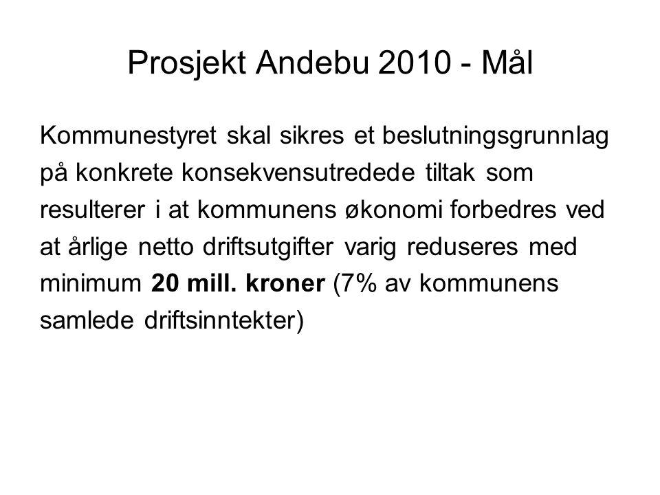 Prosjekt Andebu 2010 - Mål Kommunestyret skal sikres et beslutningsgrunnlag på konkrete konsekvensutredede tiltak som resulterer i at kommunens økonomi forbedres ved at årlige netto driftsutgifter varig reduseres med minimum 20 mill.