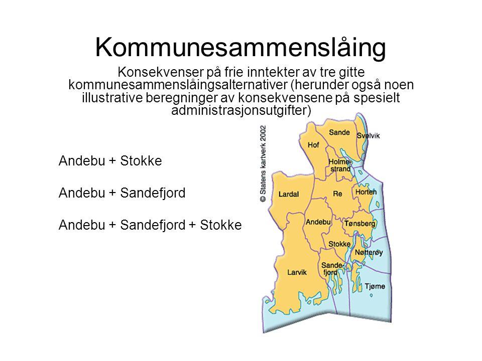 Kommunesammenslåing Konsekvenser på frie inntekter av tre gitte kommunesammenslåingsalternativer (herunder også noen illustrative beregninger av konsekvensene på spesielt administrasjonsutgifter) Andebu + Stokke Andebu + Sandefjord Andebu + Sandefjord + Stokke