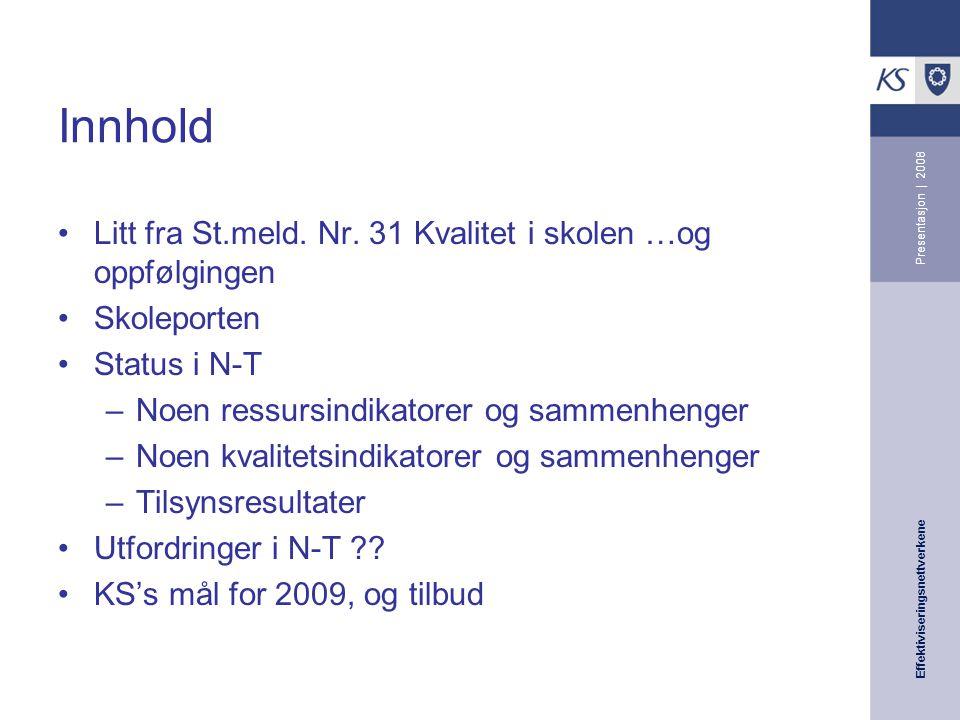 Effektiviseringsnettverkene Presentasjon | 2008 Innhold Litt fra St.meld.