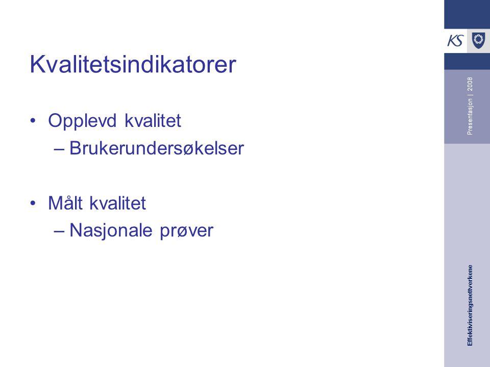 Effektiviseringsnettverkene Presentasjon | 2008 Kvalitetsindikatorer Opplevd kvalitet –Brukerundersøkelser Målt kvalitet –Nasjonale prøver