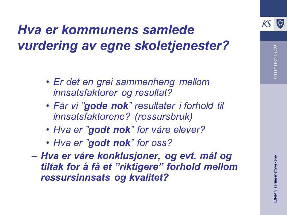 Effektiviseringsnettverkene Presentasjon | 2008 Hva er kommunens samlede vurdering av egne skoletjenester.