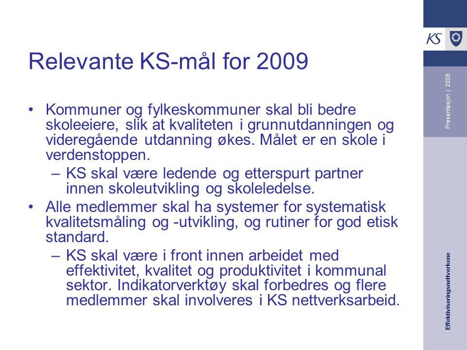 Effektiviseringsnettverkene Presentasjon | 2008 Relevante KS-mål for 2009 Kommuner og fylkeskommuner skal bli bedre skoleeiere, slik at kvaliteten i grunnutdanningen og videregående utdanning økes.