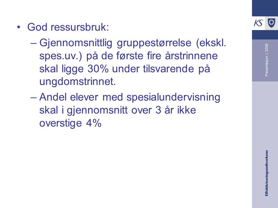 Effektiviseringsnettverkene Presentasjon | 2008 God ressursbruk: –Gjennomsnittlig gruppestørrelse (ekskl.