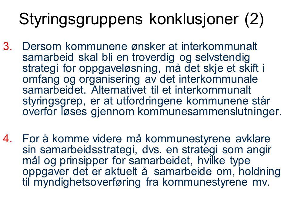 Styringsgruppens anbefalinger For å kunne være i førersetet, –bør kommunene i Sør-Trøndelag ta grep og starte en prosess for å konkludere med hvilke veivalg de vil gjøre for å bli best mulig organisert for framtida.