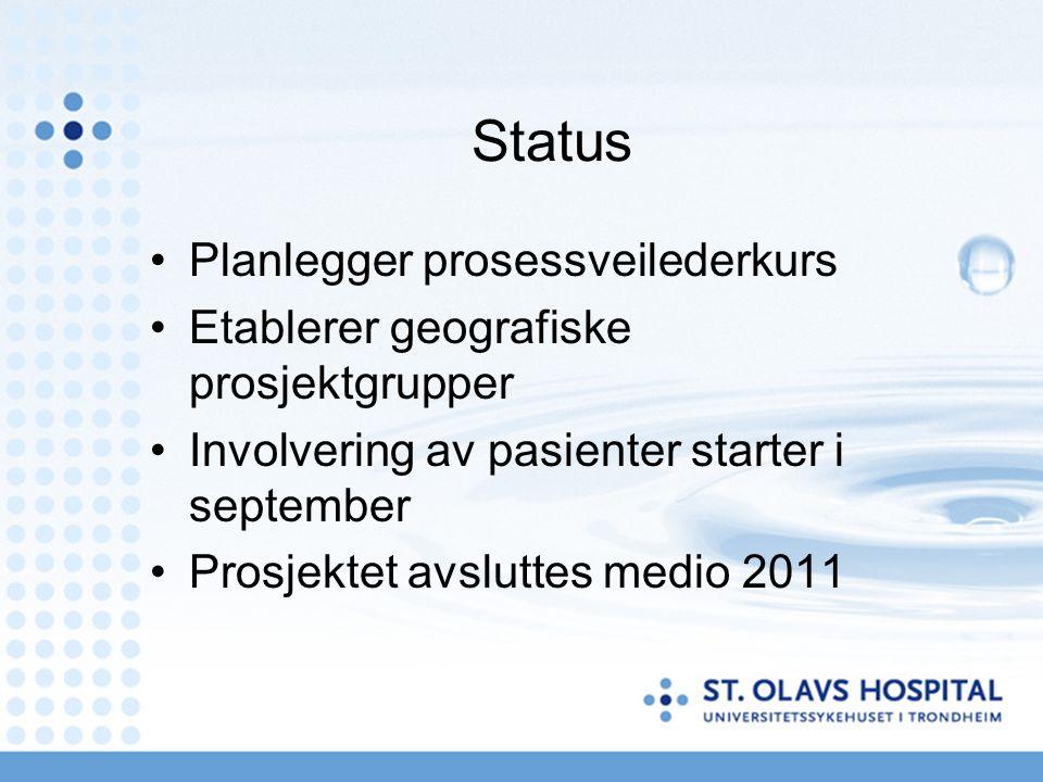 Status Planlegger prosessveilederkurs Etablerer geografiske prosjektgrupper Involvering av pasienter starter i september Prosjektet avsluttes medio 2011