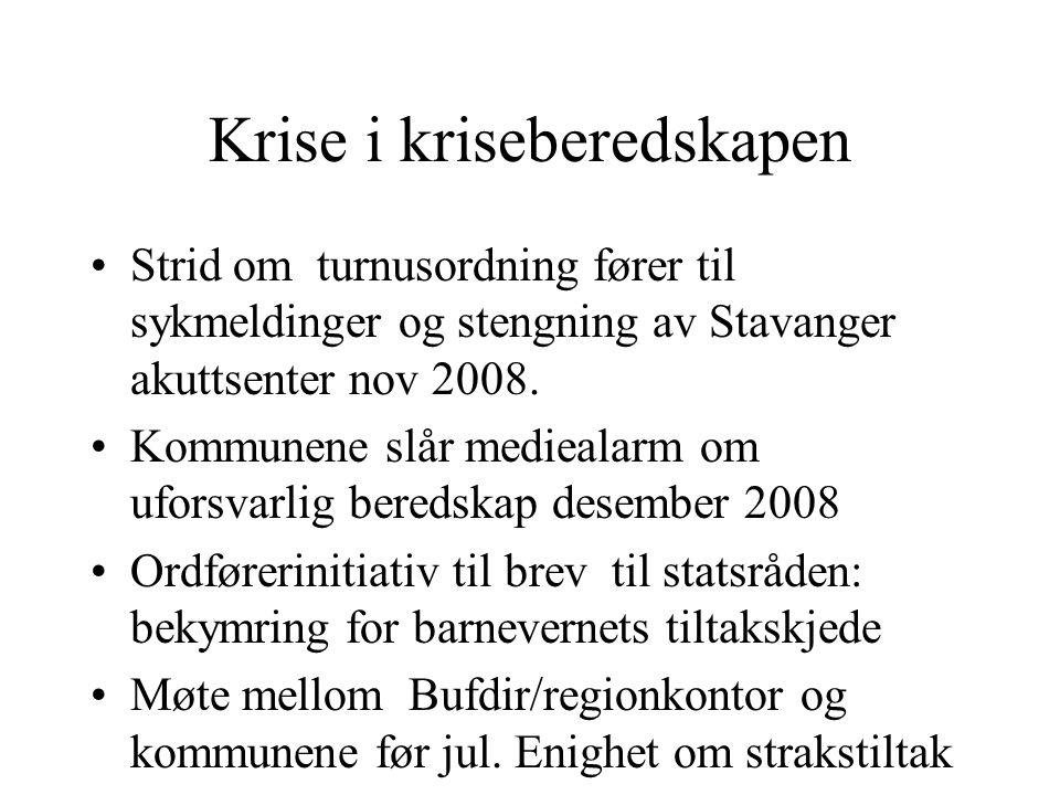 Krise i kriseberedskapen Strid om turnusordning fører til sykmeldinger og stengning av Stavanger akuttsenter nov 2008.