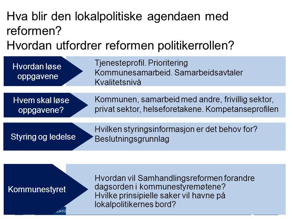 Tjenesteprofil. Prioritering Kommunesamarbeid. Samarbeidsavtaler Kvalitetsnivå Hva er lokalpolitikken? Hvordan løse oppgavene Hvordan vil Samhandlings