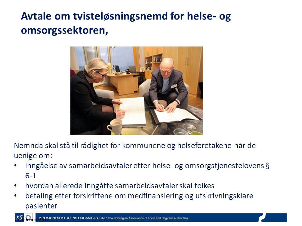 Avtale om tvisteløsningsnemd for helse- og omsorgssektoren, Nemnda skal stå til rådighet for kommunene og helseforetakene når de uenige om: inngåelse av samarbeidsavtaler etter helse- og omsorgstjenestelovens § 6-1 hvordan allerede inngåtte samarbeidsavtaler skal tolkes betaling etter forskriftene om medfinansiering og utskrivningsklare pasienter 10.