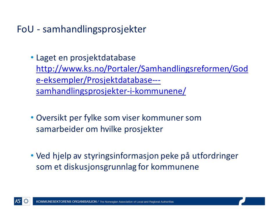 Laget en prosjektdatabase http://www.ks.no/Portaler/Samhandlingsreformen/God e-eksempler/Prosjektdatabase--- samhandlingsprosjekter-i-kommunene/ http://www.ks.no/Portaler/Samhandlingsreformen/God e-eksempler/Prosjektdatabase--- samhandlingsprosjekter-i-kommunene/ Oversikt per fylke som viser kommuner som samarbeider om hvilke prosjekter Ved hjelp av styringsinformasjon peke på utfordringer som et diskusjonsgrunnlag for kommunene FoU - samhandlingsprosjekter