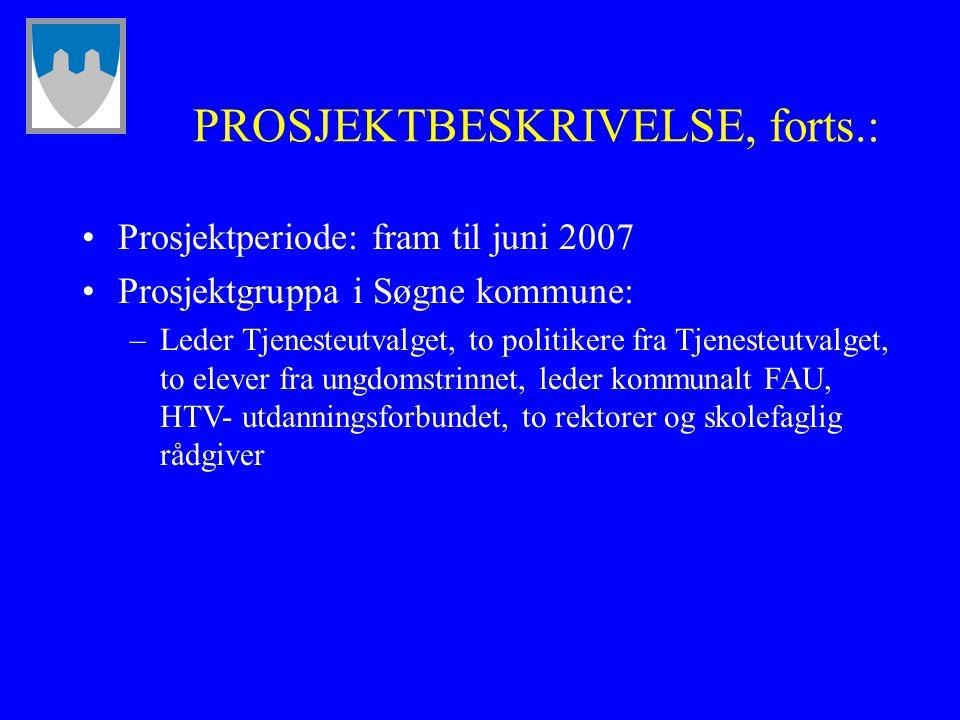 PROSJEKTBESKRIVELSE, forts.: Prosjektperiode: fram til juni 2007 Prosjektgruppa i Søgne kommune: –Leder Tjenesteutvalget, to politikere fra Tjenesteut