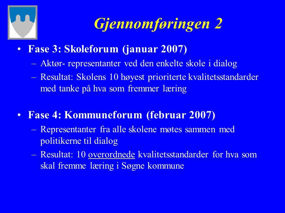 Gjennomføringen 2 Fase 3: Skoleforum (januar 2007) –Aktør- representanter ved den enkelte skole i dialog –Resultat: Skolens 10 høyest prioriterte kval