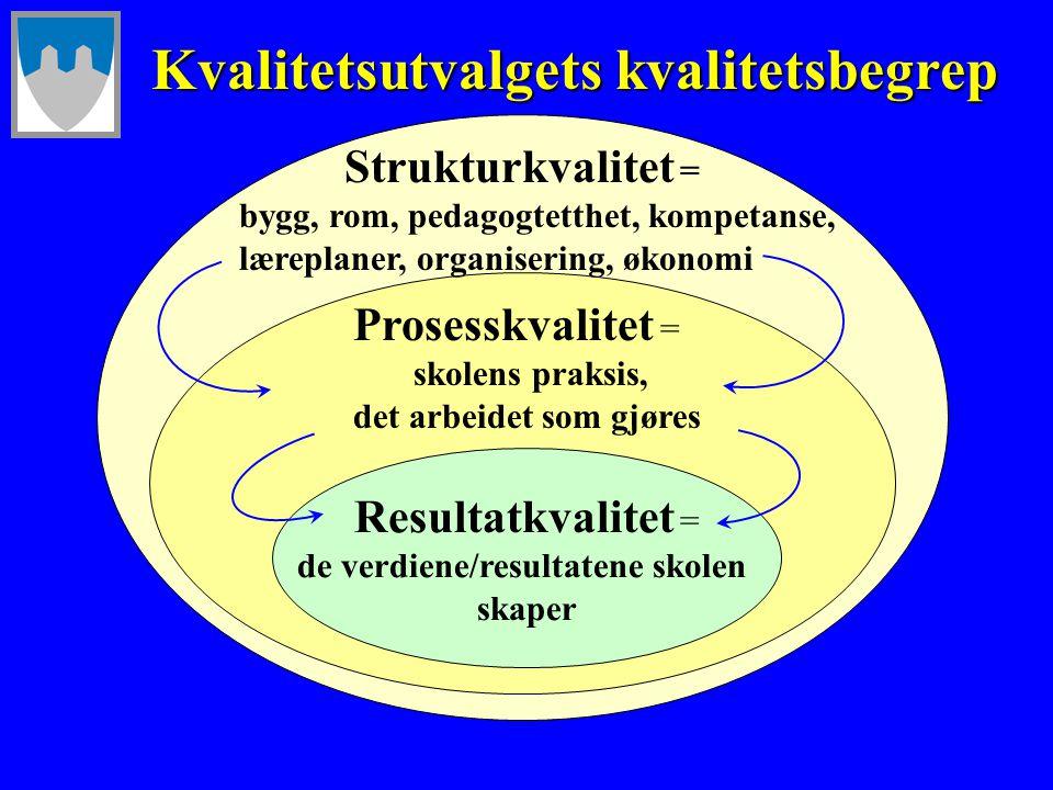 Resultatkvalitet = de verdiene/resultatene skolen skaper Prosesskvalitet = skolens praksis, det arbeidet som gjøres Strukturkvalitet = bygg, rom, peda