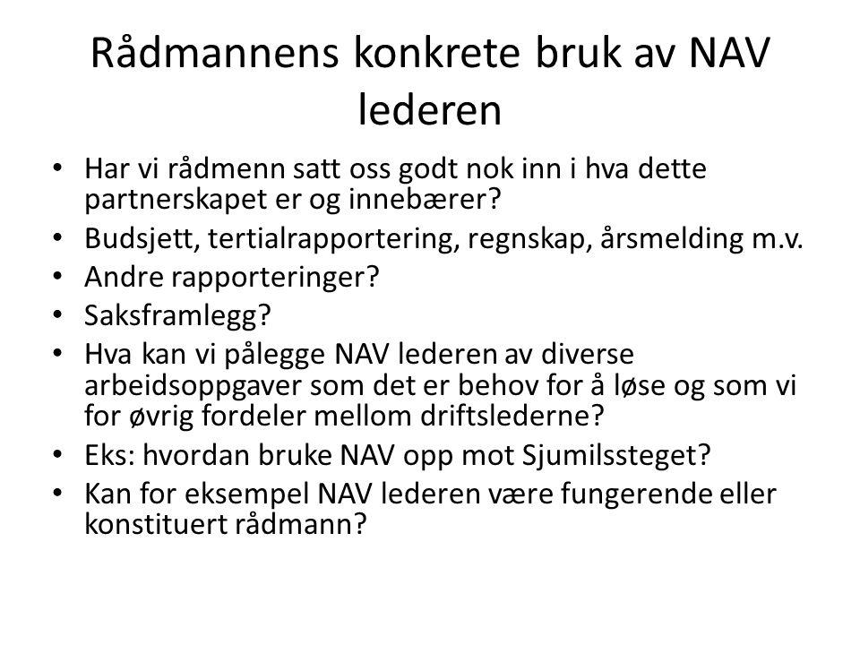 Rådmannens konkrete bruk av NAV lederen Har vi rådmenn satt oss godt nok inn i hva dette partnerskapet er og innebærer? Budsjett, tertialrapportering,