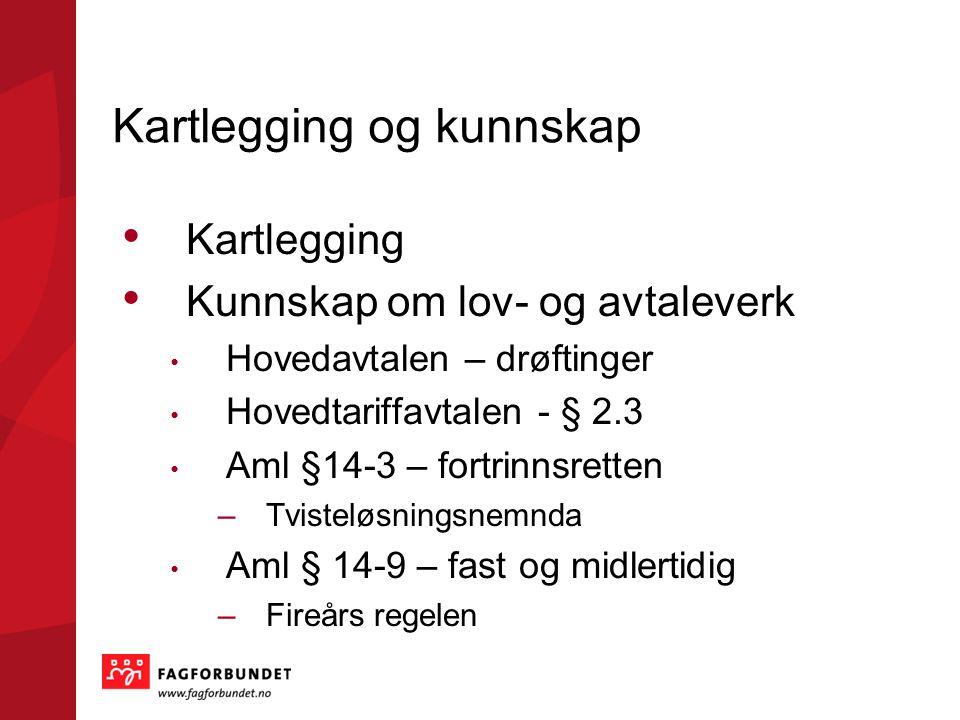Kartlegging og kunnskap Kartlegging Kunnskap om lov- og avtaleverk Hovedavtalen – drøftinger Hovedtariffavtalen - § 2.3 Aml §14-3 – fortrinnsretten –T