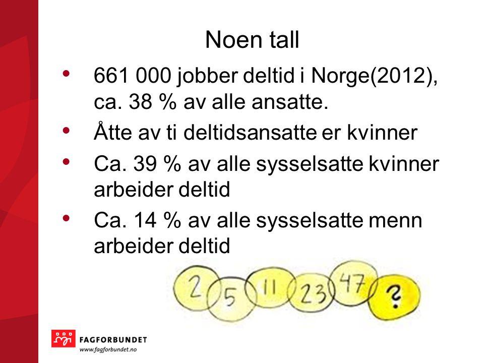 Noen tall 661 000 jobber deltid i Norge(2012), ca. 38 % av alle ansatte. Åtte av ti deltidsansatte er kvinner Ca. 39 % av alle sysselsatte kvinner arb