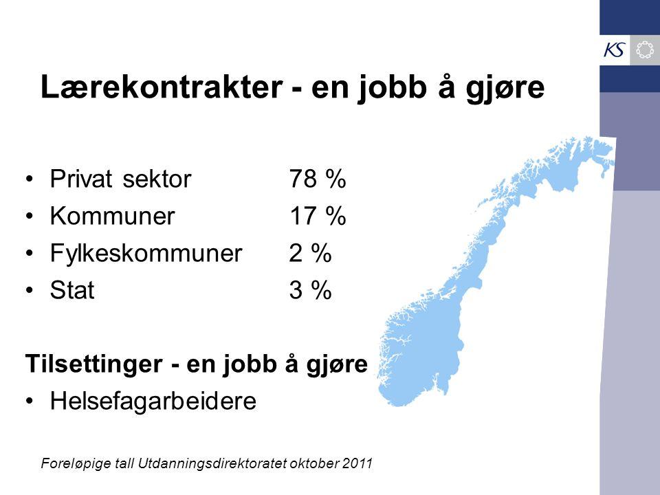 Lærekontrakter - en jobb å gjøre Privat sektor78 % Kommuner 17 % Fylkeskommuner2 % Stat3 % Tilsettinger - en jobb å gjøre Helsefagarbeidere Foreløpige tall Utdanningsdirektoratet oktober 2011