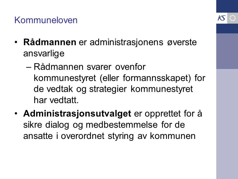Kommuneloven Rådmannen er administrasjonens øverste ansvarlige –Rådmannen svarer ovenfor kommunestyret (eller formannsskapet) for de vedtak og strateg