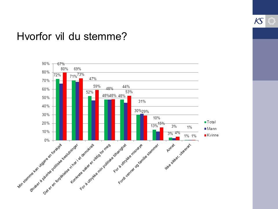 Hvorfor vil du stemme – by og land* * Byungdom oppgir flere grunner enn ungdom i landkommuner