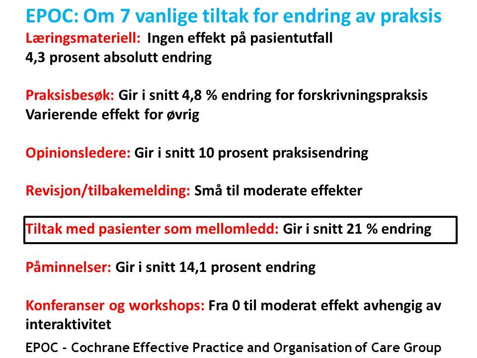 EPOC: Om 7 vanlige tiltak for endring av praksis Læringsmateriell: Ingen effekt på pasientutfall 4,3 prosent absolutt endring Praksisbesøk: Gir i snit
