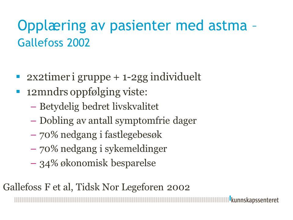 Opplæring av pasienter med astma – Gallefoss 2002  2x2timer i gruppe + 1-2gg individuelt  12mndrs oppfølging viste: –Betydelig bedret livskvalitet –