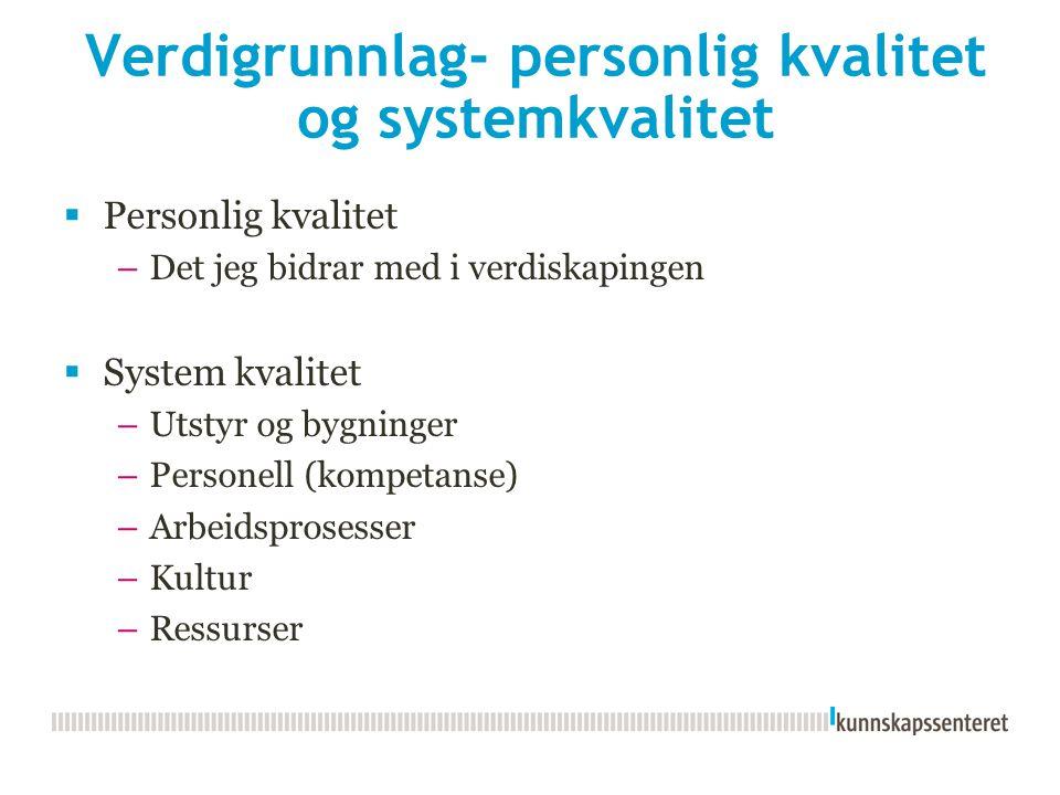 Verdigrunnlag- personlig kvalitet og systemkvalitet  Personlig kvalitet –Det jeg bidrar med i verdiskapingen  System kvalitet –Utstyr og bygninger –