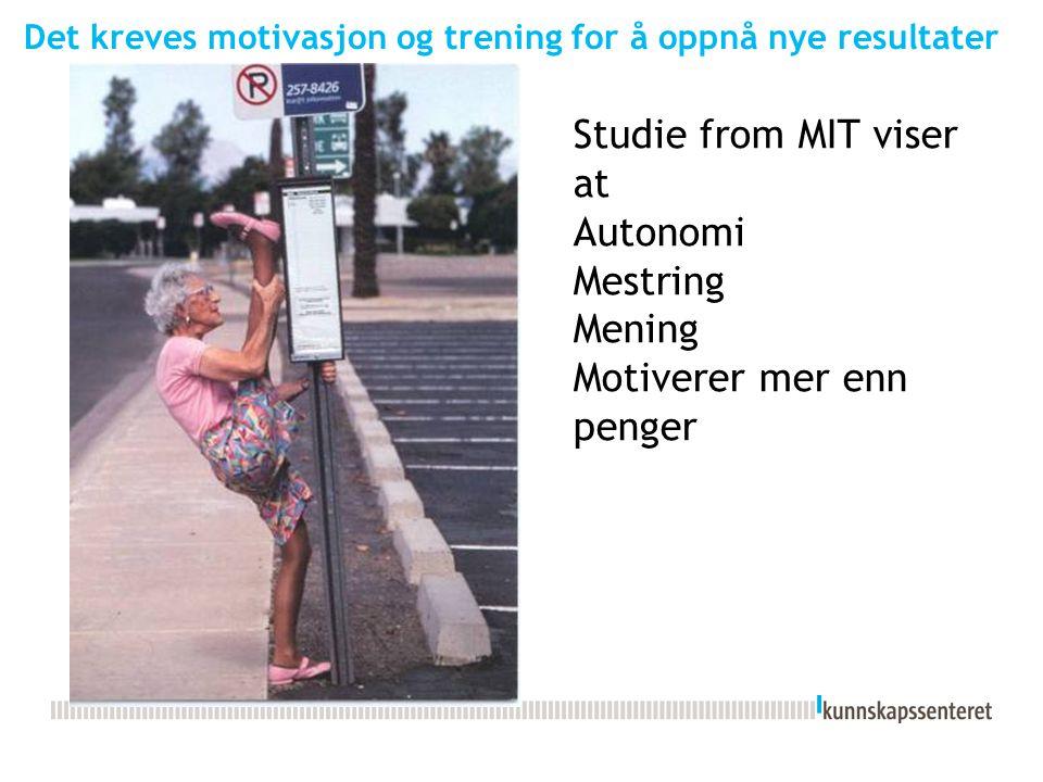 Det kreves motivasjon og trening for å oppnå nye resultater Studie from MIT viser at Autonomi Mestring Mening Motiverer mer enn penger