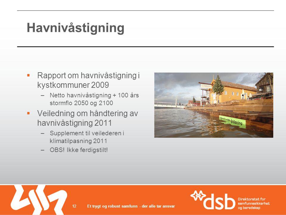 Havnivåstigning  Rapport om havnivåstigning i kystkommuner 2009 –Netto havnivåstigning + 100 års stormflo 2050 og 2100  Veiledning om håndtering av havnivåstigning 2011 –Supplement til veilederen i klimatilpasning 2011 –OBS.