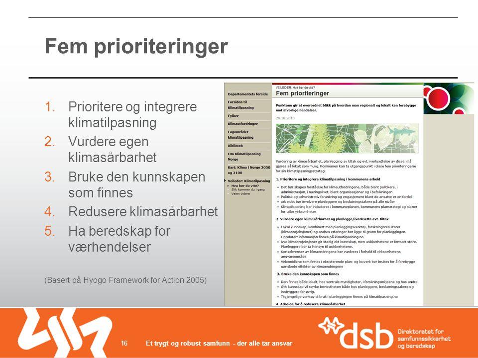 Fem prioriteringer 1.Prioritere og integrere klimatilpasning 2.Vurdere egen klimasårbarhet 3.Bruke den kunnskapen som finnes 4.Redusere klimasårbarhet