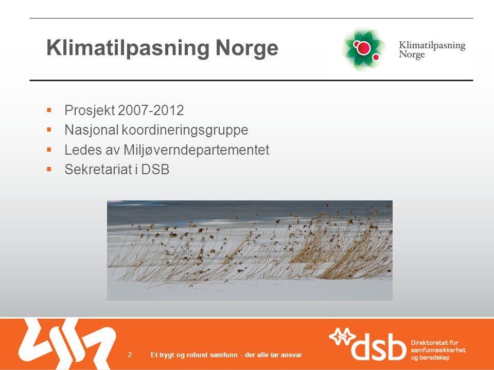 Klimatilpasning Norge  Prosjekt 2007-2012  Nasjonal koordineringsgruppe  Ledes av Miljøverndepartementet  Sekretariat i DSB Et trygt og robust samfunn - der alle tar ansvar2