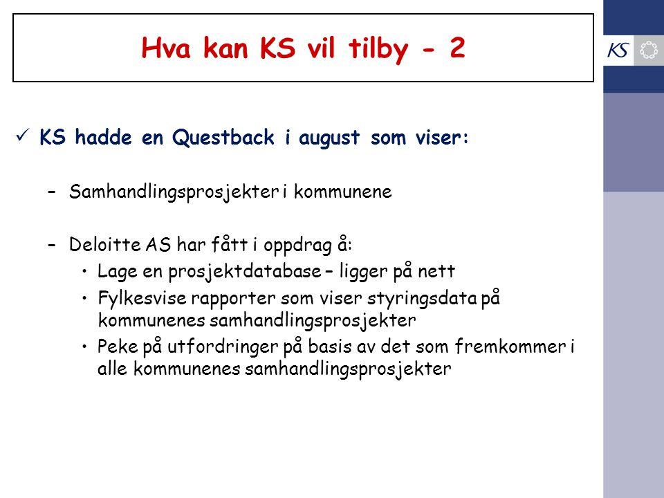 Hva kan KS vil tilby - 2 KS hadde en Questback i august som viser: –Samhandlingsprosjekter i kommunene –Deloitte AS har fått i oppdrag å: Lage en pros