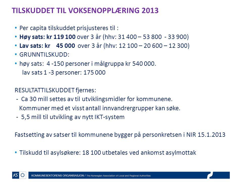 TILSKUDDET TIL VOKSENOPPLÆRING 2013 Per capita tilskuddet prisjusteres til : Høy sats: kr 119 100 over 3 år (hhv: 31 400 – 53 800 - 33 900) Lav sats: