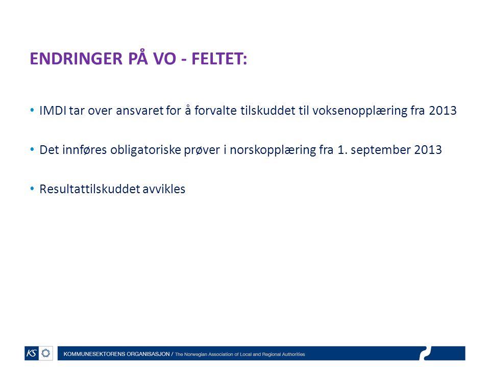 ENDRINGER PÅ VO - FELTET: IMDI tar over ansvaret for å forvalte tilskuddet til voksenopplæring fra 2013 Det innføres obligatoriske prøver i norskopplæ
