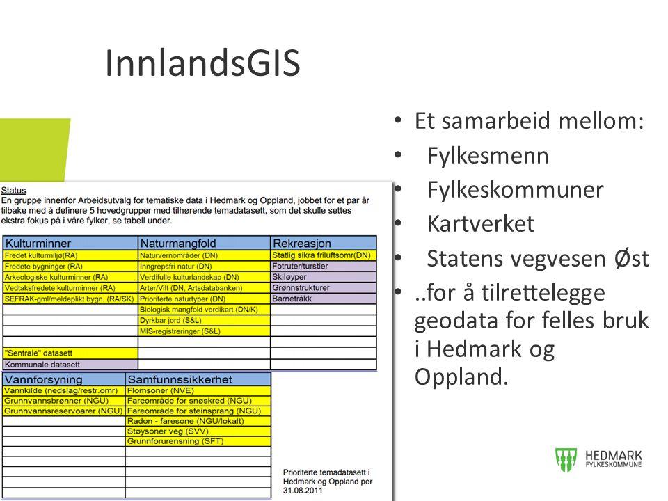 Et samarbeid mellom: Fylkesmenn Fylkeskommuner Kartverket Statens vegvesen Øst..for å tilrettelegge geodata for felles bruk i Hedmark og Oppland. Innl